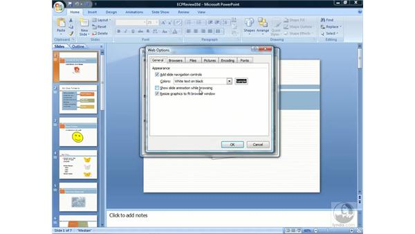 Creating a web presentation: PowerPoint 2007 Essential Training