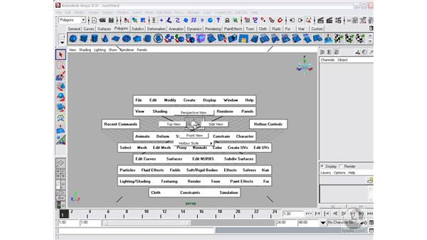 Menus, hotbox, and marking menus: Maya 8 Essential Training