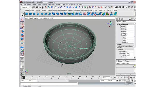 Creating surfaces: Revolve: Maya 8 Essential Training
