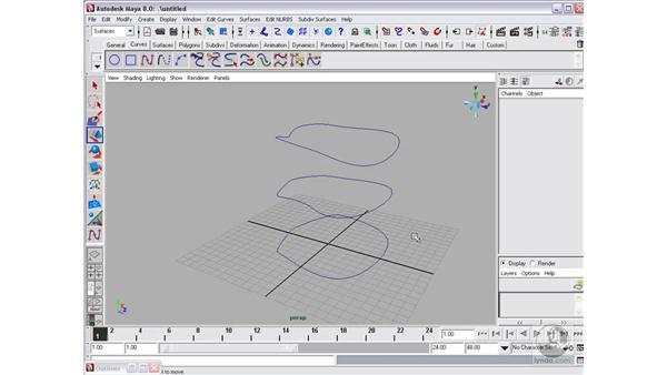 Creating surfaces: Loft: Maya 8 Essential Training