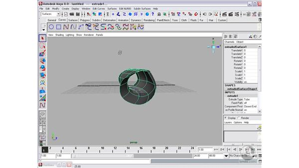 Creating surfaces: Extrude: Maya 8 Essential Training