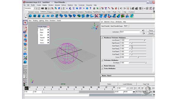 Non-linear deformations: Bend, Flare, Sine, etc.: Maya 8 Essential Training