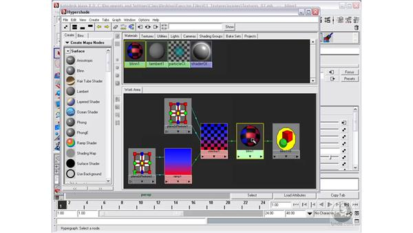 The Hypershade window and shader networks: Maya 8 Essential Training