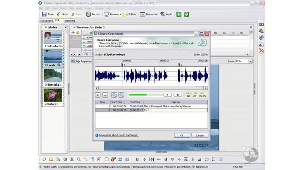 Closed captioning audio: Captivate 2 Essential Training