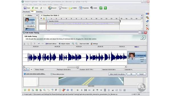 Splitting audio among slides: Captivate 2 Essential Training