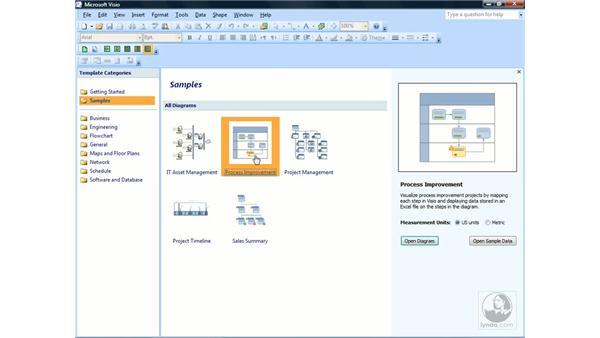 Browsing sample drawings: Visio 2007 Essential Training