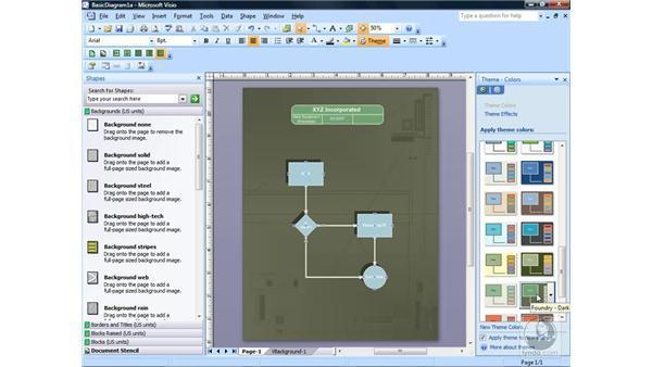 Using themes: Visio 2007 Essential Training