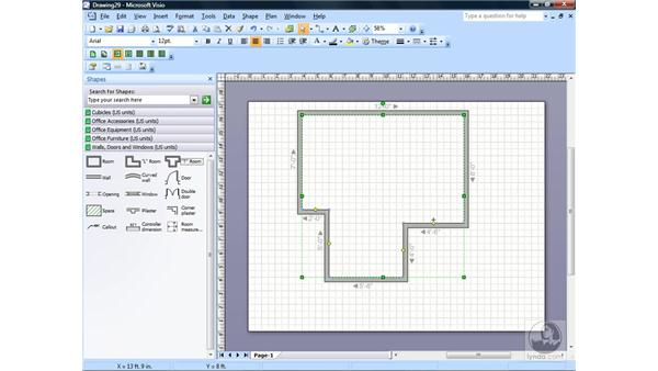 Adding and editing shapes on the drawing page: Visio 2007 Essential Training