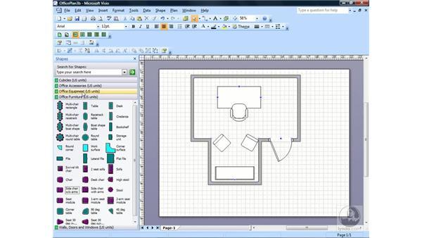 Adding text to a shape: Visio 2007 Essential Training
