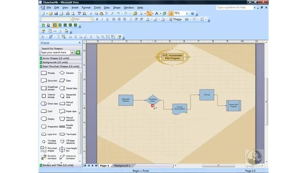Using the Connector Tool button: Visio 2007 Essential Training