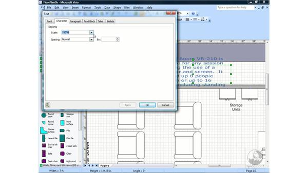 Changing paragraph settings: Visio 2007 Essential Training