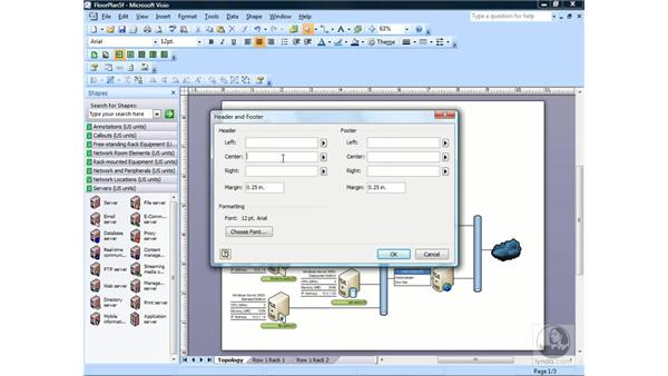 Creating headers and footers: Visio 2007 Essential Training