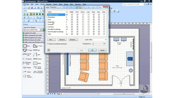 Assigning a shape to a layer: Visio 2007 Essential Training