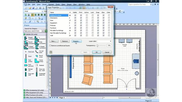 Creating a new layer: Visio 2007 Essential Training