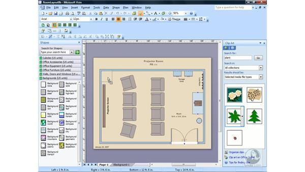 Inserting clip art: Visio 2007 Essential Training