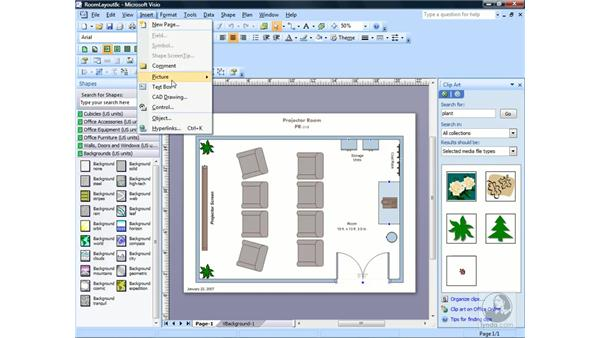 Inserting a picture from a file: Visio 2007 Essential Training