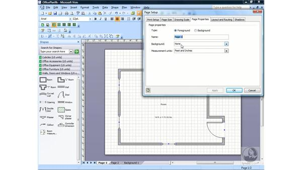 Creating and assigning a background page: Visio 2007 Essential Training
