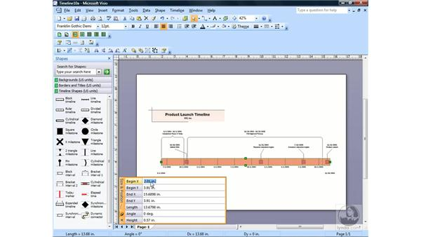 Using the Size & Position window: Visio 2007 Essential Training