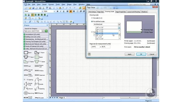 Setting a drawing scale: Visio 2007 Essential Training