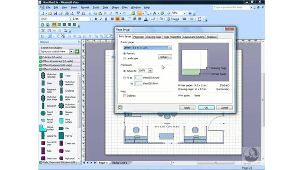 Setting paper size and orientation: Visio 2007 Essential Training