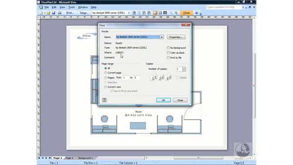 Printing a drawing: Visio 2007 Essential Training