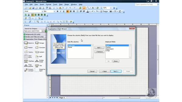 Creating an organizational chart: Visio 2007 Essential Training
