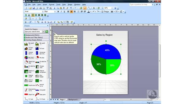 Creating a pie chart: Visio 2007 Essential Training