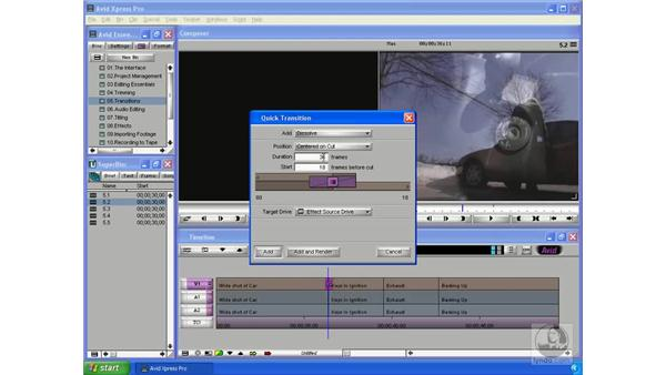 Using cross dissolves and fades: Avid Xpress Pro 5.5 Essential Editing