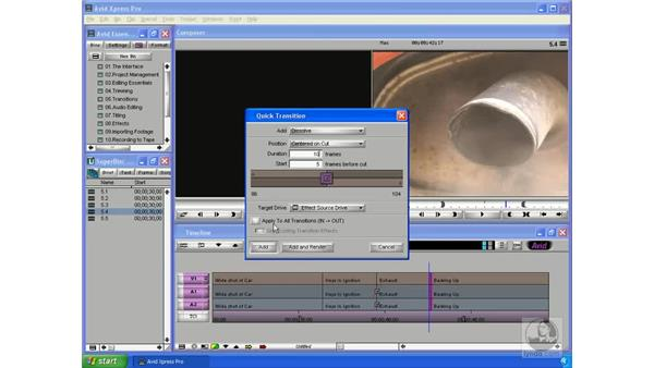 Applying transitions to multiple clips: Avid Xpress Pro 5.5 Essential Editing