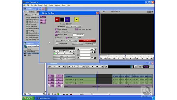 Printing to tape: Avid Xpress Pro 5.5 Essential Editing