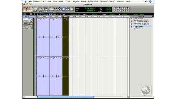 Using the Region bin to assemble audio: Pro Tools 7 LE Essential Training