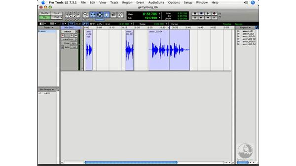 Editing to a timeline: Pro Tools 7 LE Essential Training