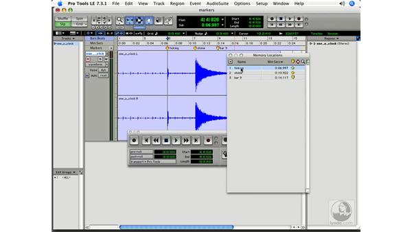 Using a marker list: Pro Tools 7 LE Essential Training