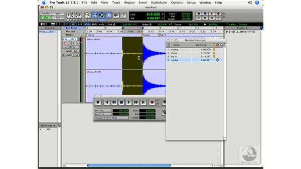 Using selection markers: Pro Tools 7 LE Essential Training