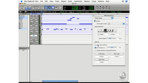 Steploading MIDI onto a track: Pro Tools 7 LE Essential Training