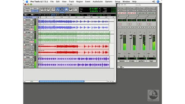 Fader automation: Pro Tools 7 LE Essential Training