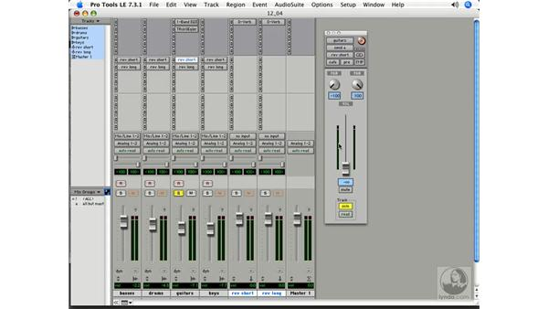 Creating aux faders: Pro Tools 7 LE Essential Training
