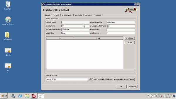 Zertifikate in XCA erzeugen