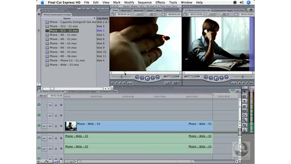 Using multiple tracks to edit: Final Cut Express HD 3.5 Essential Training