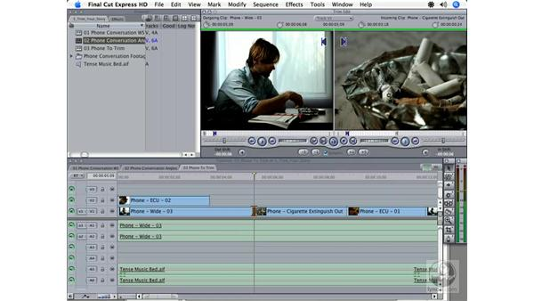 The Trim Edit window: Final Cut Express HD 3.5 Essential Training