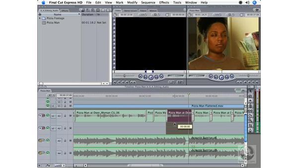 Creating audio transitions: Final Cut Express HD 3.5 Essential Training