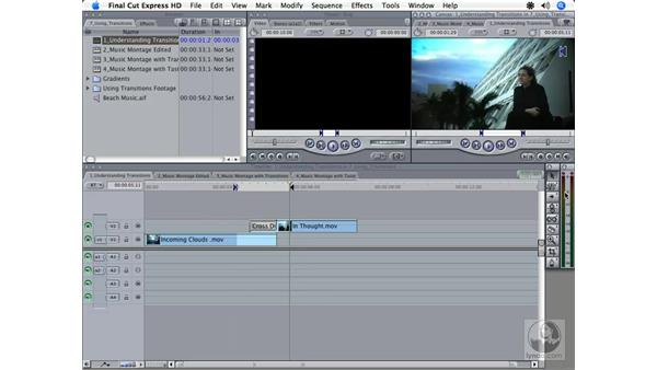 Creating a video transition: Final Cut Express HD 3.5 Essential Training