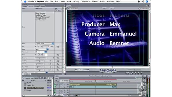 Adding credits: Final Cut Express HD 3.5 Essential Training