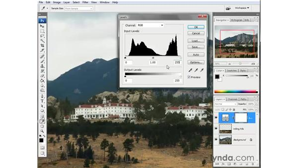 Adding a couple of adjustment layers: Photoshop CS3 One-on-One: The Essentials