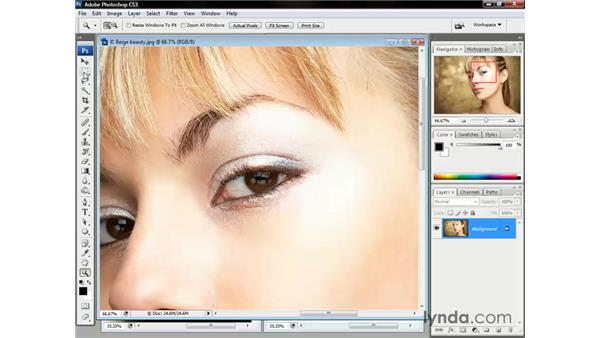 Using the Zoom tool: Photoshop CS3 One-on-One: The Essentials