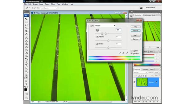Changing yellow paint to red: Photoshop CS3 One-on-One: The Essentials