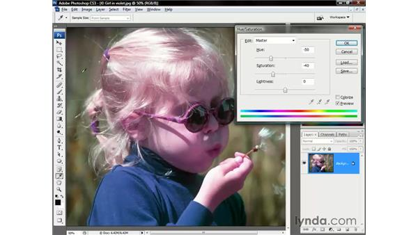 Selectively adjusting hues: Photoshop CS3 One-on-One: The Essentials