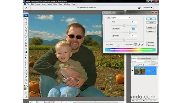 Boosting the saturation: Photoshop CS3 One-on-One: The Essentials
