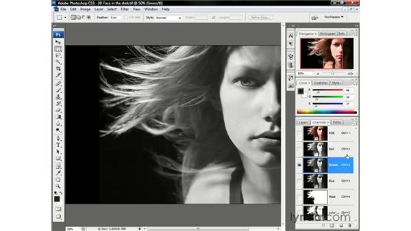 Selecting a base channel: Photoshop CS3 One-on-One: Beyond the Basics