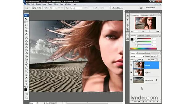 Adding a layer mask: Photoshop CS3 One-on-One: Beyond the Basics